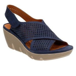 "Clarks Shoes - Clarks Artisan ""Clarene"" Perforated Leather Wedge"